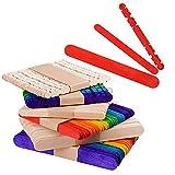 300 × Palitos para Manualidades Palos Palillo de Madera Natural Colores Material para DIY Bricolaje Artesanía