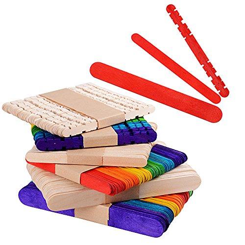 El paquete incluye: 300 piezas palitos de madera para munualidades. 15cm × 1,7cm × 100piezas 11,5cm × 0,7cm × 100piezas  11,5cm × 0,7cm ×100piezas con muescas para fijar Especificaciones: Colores de palos: madera natural, rojo, naranja, amarillo, ver...