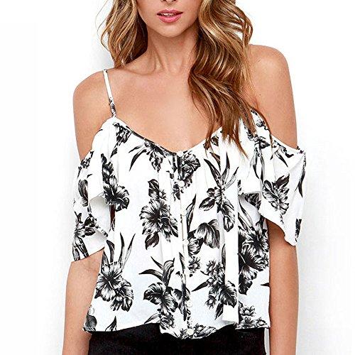 Chiffon Rüsche Shirt (Vovotrade ✿✿Frauen aus Schulter Chiffon Shirt Rüschen zurück Split Spaghetti Strap T-Shirt (S, Weiß))