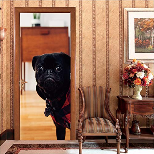 YS753 Black Dog Animal House Decoration Sticker Creative Decorative PVC Mural Film Self-Adhesive Door Stickers 2Pc/Set 3D Waterproof 77X200Cm
