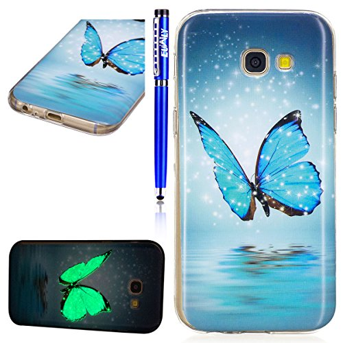 Price comparison product image FESELE Samsung Galaxy A5 2017 Case Galaxy A5(2017) [Night Luminous] Glow in the Dark Design IMD Painting Ultra-thin Soft TPU Cover for Samsung Galaxy A5 (2017) Colorful Pattern Design Anti Slip Scratch Resistant Transparent Protective Cover for Samsung Galaxy A5 2017 - Blue Butterfly