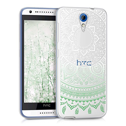 kwmobile HTC Desire 620G Hülle - Handyhülle für HTC Desire 620G - Handy Case in Mintgrün Weiß Transparent