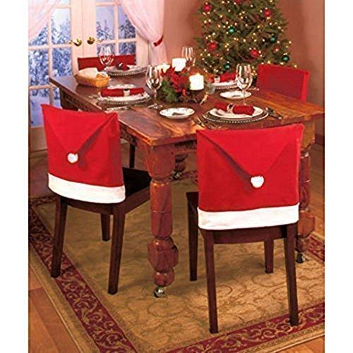 GudeHome Pacco da 12 Decorazione Natalizia Festa Babbo Natale Cappello Rosso Copri Sedie 80g