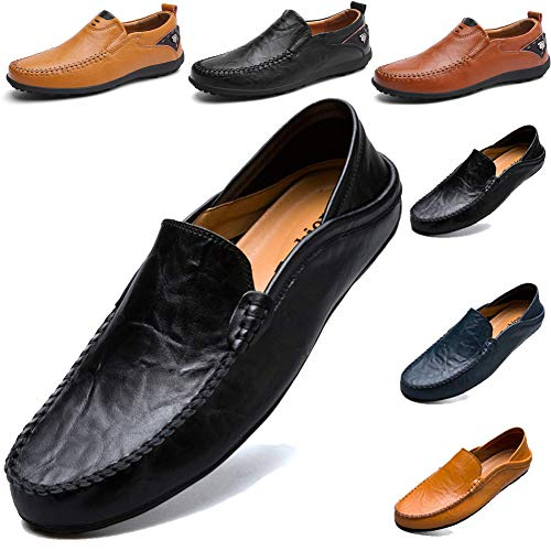 LSGEGO Herrenmode Loafers Business Schuhe Echtes Leder Boot Breathable Laufen Walking Office Casual Täglichen Outdoor Trainer Braun Schwarz -