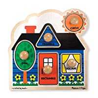 Melissa & Doug First Shapes Large Peg Puzzle (Colourful Artwork, Extra-Thick Wooden Construction, 5 Pieces, 39.37 cm H × 28.448 cm W × 4.064 cm L)