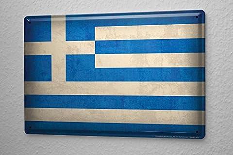 Blechschild Welt Reise Griechenland Flagge Wand Deko Schild 20X30