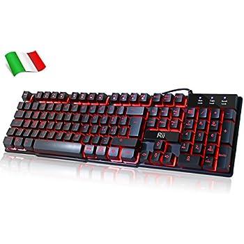Rii Gaming RK100 (layout ITALIANO) - Tastiera italiana da gioco retroilluminata a LED (3 colori)