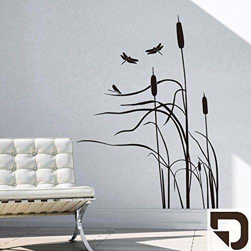 DESIGNSCAPE® Wandtattoo Schilf im Wind - Schilfgras mit Libelle - Schilfhalme 74 x 100 cm (Breite x Höhe) braun DW804010-S-F9