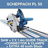 Scheppach PL55 Plunge Saw & 2 X 1.4M Guide Track & Connector +