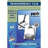 Film Transparent A4 pour imprimante jet d'encre (vidéoprojecteur Lot de 50 feuilles de Film avec système de capteur amovible Motif rayures