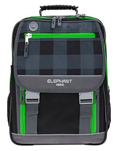 ELEPHANT HERO 2 Schulrucksack XL Schulranzen Schultasche 12364 (Plaid Green (Schwarz Grün))