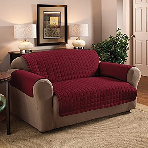 Quilted Microfibre Furniture Protector Water Repellent Soil & Snag Resistant Settee Cover Two Seater (Wine) by Classic Home Store