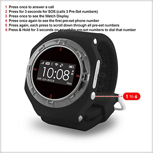 GPS tracker Smart Watch Phone for Kids & Elderly, English Support & App, Two Way Calls , Live GPS Location, One Button Control & SOS, Safe Zones, Silent Monitoring, Location History, Low Battery & SOS Alerts, 10 Pre-Set Numbers, Alarm, Ready to go out of the box, Sim Card Fitted ~ Pre-Paid Monthly ~ NO CONTRACT ~ Opt Out Anytime ~ Uses Strongest Mobile Network.