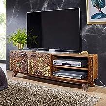 finebuy design hifi lowboard carva massivholz vintage tv kommode 140 x 46 x 40cm fernsehschrank