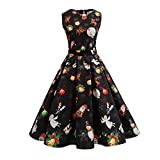 Vêtements LILICAT Womens Christmas Party Dress Ladies Vintage Xmas Swing Lace Dress (Black-22, XL)