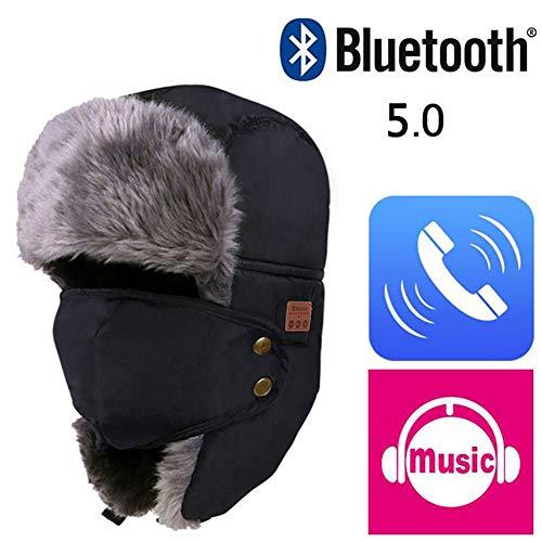 Biback Warm Windproof Hats Abnehmbare Gesichtsmaske Ohrenklappen 5.0 Bluetooth Beanie Music Hat Wireless Winddicht und Snowproof Headset Musik Headgear Cap Unisex Winter Fleece