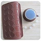 SOEKAVIA 48-capacity Set de cuisson macaron Moule en silicone avec presse Décoration Stylo de beurre de cuisson outil Moule Kit (Café)...