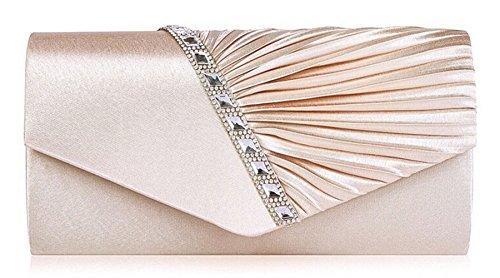 Cloud-Y Borsa Pochette Donna Sacchetto di Sera a Mano Borsetta stile Elegante Dolce Borsa Festa(Dimensione:26*15*5cm) albicocca(27×11×5cm)