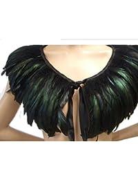 SwirlColor Capelet lujosa pluma Negro con Cuello alto