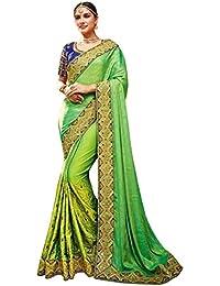 Swara Fashion Women's Pure Silk Thread Work Saree(SFA-1589-A_Parrot Green)
