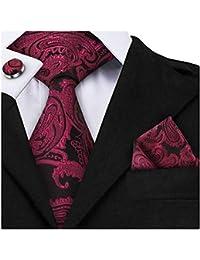 Jorlyen Uomo Designer Cravatta - Box Set con fazzoletto, Gemelli e Fermacravatta X cucita a mano in microfibra in colori assortiti - confezione regalo