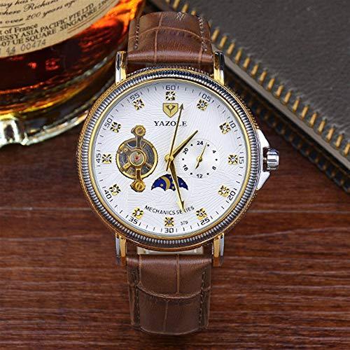 HWCOO Schöne Coole Uhr 379 YAZOLE halbautomatische Hohle Tourbillon mechanische Uhr Herrenuhr mechanische Uhr (Color : 2)