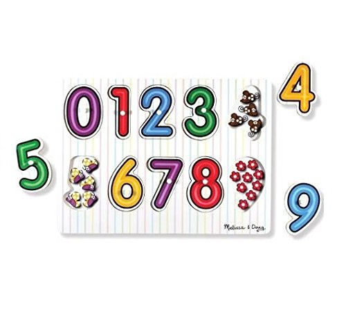 Melissa & Doug 13273 See-Inside Numbers Wooden Peg Puzzle (10 pcs) - Multicolor