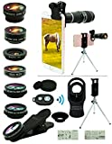 Cell Phone Camera Lens Kit,11 in 1 Universal 20x Zoom Telephoto Lens,0.63Wide Angle+15X