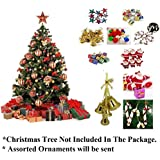 WebelKart 76 Pcs Christmas Tree Decorations Set (Balls, Bells, Gifts, Pine Trees, Stars, Candy Sticks & Santa Claus)