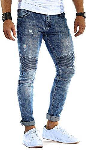 LEIF NELSON Herren Hose Jeans Stretch Jeanshose Freizeithose Denim Slim Fit FBA9930BL; W31L32, Blau