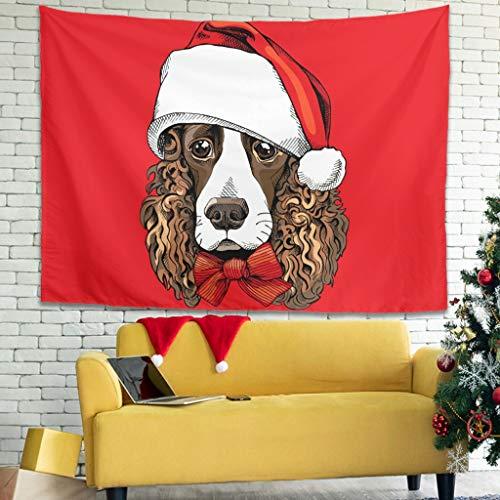 O3XEQ-8 Christmas Animal Happy Musterdruck Wandbehang Hippie Türvorhang Vielseitigkeit - für Weihnachtsdeko White 59 * 51