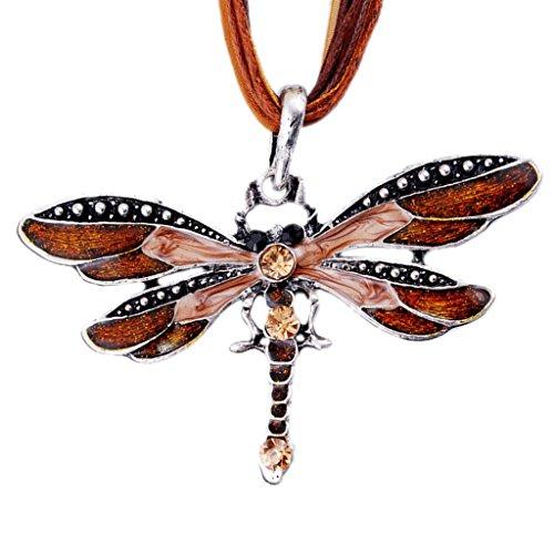 Mädchen Schöne Braune Libelle Kristall Verstellbare Seil Kette Halskette (Tragen Custume)