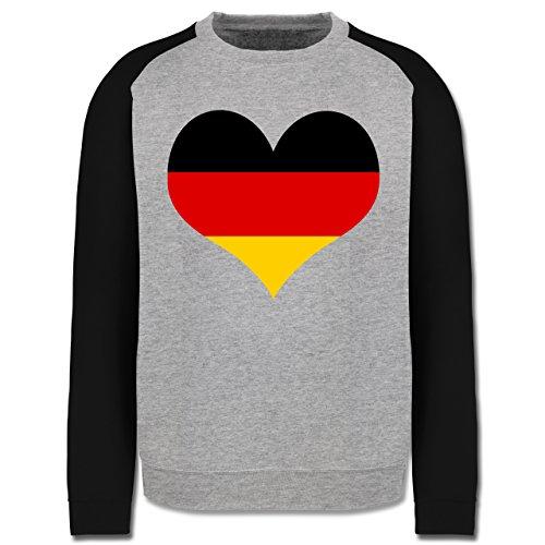 EM 2016 - Frankreich - Deutschland Herz - Herren Baseball Pullover Grau Meliert/Schwarz