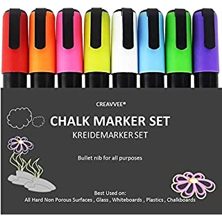 Creavvee Chalk Markers – Set of 8 BASIC Colors – 6mm Bullet Tip Dry Wipe Erase – Chalk Pens