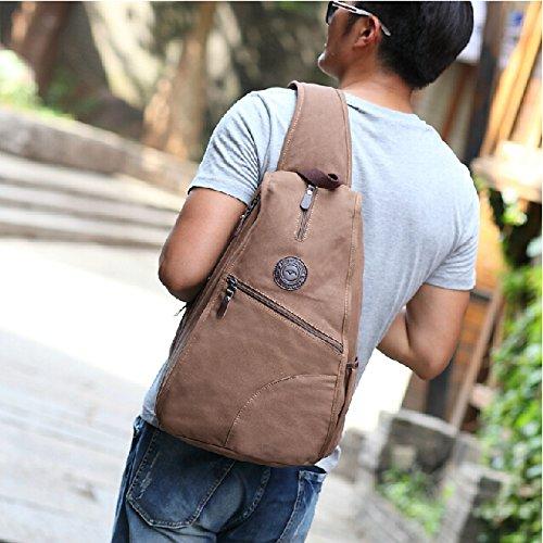 bs-21Herren Brust Bag Gym Schultertasche Triangle Bag Canvas Rucksack Cross-Body-Bags, Freizeit, blau (Blau) - Generic Kaffee