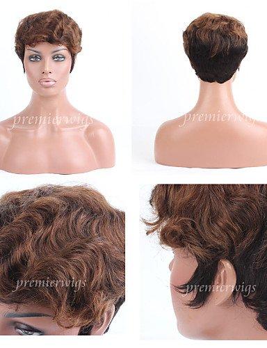 Perruque & xzl Perruques Fashion premierwigs double tonalité brésiliens vierges perruques de cheveux humains perruques sans bouchon droites courtes pour les femmes noires