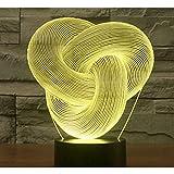 3D Luz De Noche 7 Colores Cambian Control Táctil Dormitorio Usb Lámpara De Mesa Decorativa Regalo De Cumpleaños Anillo Continuo