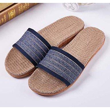 Slippers & amp da uomo;Estate Slingback Lino casuale Heel piatto blu scuro Marrone Blu Navy caffè sandali US7 / EU39 / UK6 / CN39
