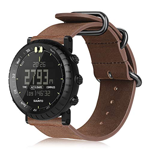 Fintie Armband für Suunto Core - Premium Uhrarmband aus Echtleder Vintage Ersatzband mit Edelstahlschnalle für Suunto Core Smartwatch, (Braun)