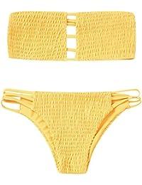 Mujer 2018 Push-up Acolchado Bra Bikini Set Bandage Traje de Baño de Playa Color Sólido, S - L