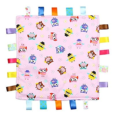 Pink Baby Tag, Taggy Blanket - Pink with Multi-Coloured Owls Animal Tag, Taggy Blanket - Plain Cream Textured Underside