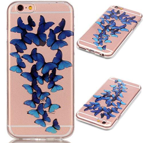 Apple iPhone 7 Schutzhülle, MyGadz® Hülle mit Muster, Handy Case Cover Schutz Tasche für iPhone 7 ultra-slim, Bunt Retro Druck Motiv - Dreamcatcher Schmetterlinge Blau