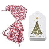 Hosaire 50x Weihnachten Etikett Kraftpapier Tags Anhänger Etiketten DIY Weihnachtsbaum Muster Weihnachten Deko Etikett Schilder Geschenk Anhänger Label