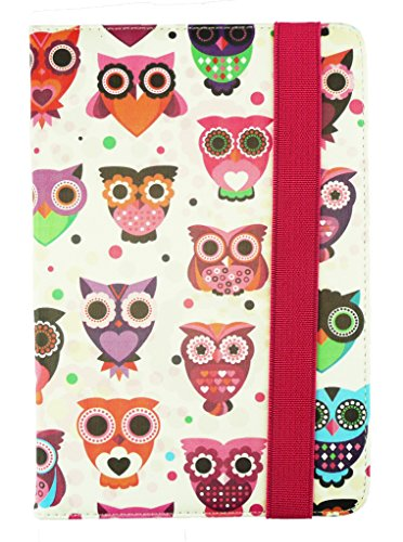 Emartbuy® Zync Z900 Plus Quad Core 3G Calling Tablet 7 Inch Universal Range Multi Owls Multi Angle Executive Folio Wallet Case Cover With Card Slots + Stylus