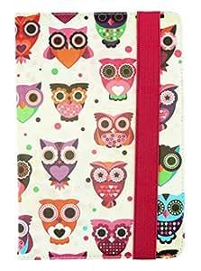 Emartbuy® 10 Inch Universal Range Multi Owls Premium PU Leather Multi Angle Executive Folio Wallet Case Cover For Lenovo A2107