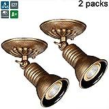 Deckenspot Vintage Einstellbare Flexible Wandlampe Deckenlampe Drinnen und draußen Lampe Schwenkbar,LED spotlight lampe decke Wand Spot Deckenstrahler, Mit LED-Lampen-Birnen5W (warmes Licht),2packs