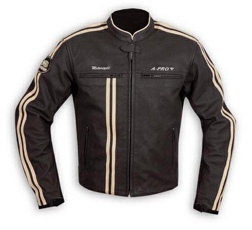 A-Pro, Giacca in pelle, da motociclista Protezioni CE, vera pelle, termica