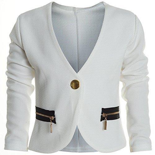 Bolero Strick Kinder Mädchen Rüschen Ärmel Schulterjacke Bauchfreie Jacke 20583, Farbe:Weiß;Größe:140