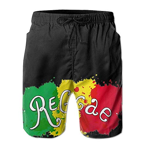 Manyw Jamaican Reggae Flag Graffiti Design Mens Shorts Loose Summer Swimming Trunks Running Swimming and Surfing Medium -