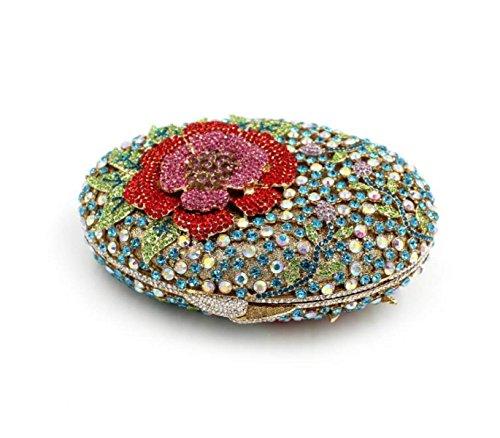 Sacchetto Di Sera Di Cristallo Dei Diamanti Fiore Ovale Sacchetto Diamante Di Lusso Di Fascia Alta Borse Catena Cava Borsa Blue